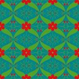 红色花绿色叶子样式摘要图表墙纸 免版税库存图片