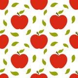 红色苹果和叶子秋天样式 向量例证