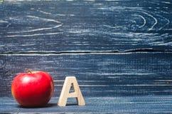 红色苹果和在A上写字 初等教育的概念 苹果计算机 库存照片