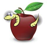红色苹果和蠕虫 库存图片