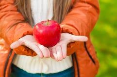 红色苹果在儿童的手上在公园 免版税库存照片
