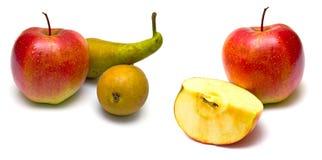 红色苹果绿色的梨 图库摄影