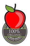 红色苹果计算机有机标签 免版税库存图片