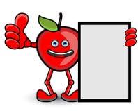 红色苹果计算机横幅赞许姿势 免版税库存图片