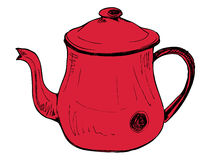红色茶壶葡萄酒 免版税图库摄影