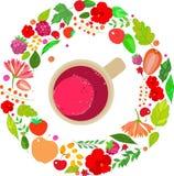 红色茶杯的例证在上面的在框架离开,莓果和花,橙色绿色白色背景 免版税库存照片