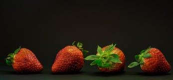 红色草莓特写镜头在一条线的在黑背景 免版税库存图片