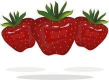 红色草莓绿色在白色背景,阴影,手图画,绘画根源 免版税库存图片