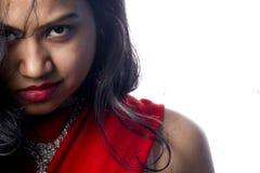 红色莎丽服的印第安女孩 库存照片