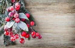 从红色莓果、毛皮树和锥体的圣诞节花圈 免版税库存照片