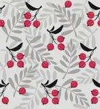 红色莓果一个无缝的样式 免版税图库摄影