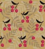 红色莓果一个无缝的样式 库存图片