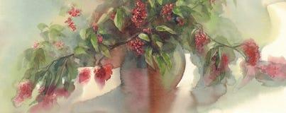 红色莓果花束水彩背景 图库摄影