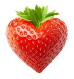 红色莓果草莓心脏形状 免版税库存图片