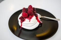红色莓果pavlova 库存照片