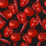 红色菜无缝的样式有黑难看的东西背景 库存例证