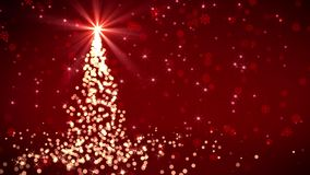 红色落的光圣诞树 库存例证