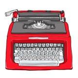 红色葡萄酒打字机逗人喜爱的艺术绘画例证 免版税库存照片