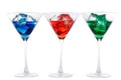 红色蓝绿色的马蒂尼鸡尾酒 免版税库存照片