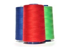 红色蓝色和绿色螺纹 免版税库存图片