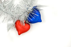 红色蓝色圣诞节的重点 库存图片