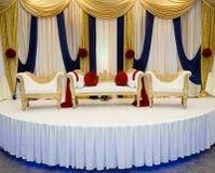 红色蓝色婚礼阶段 库存图片