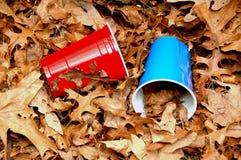 红色蓝色废弃物 库存照片