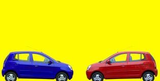 红色蓝色的汽车 免版税库存图片