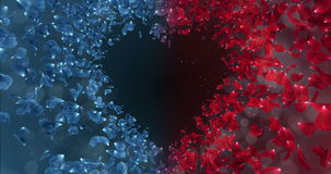 红色蓝色罗斯花瓣在爱心脏塑造背景占位符圈4k