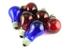 红色蓝色黑暗的闪亮指示 免版税库存照片