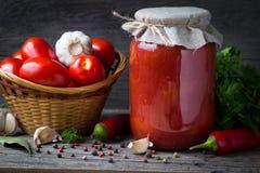红色蕃茄和新鲜的西红柿酱用莳萝,大蒜,胡椒在一张木桌上 库存照片