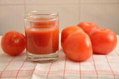 红色蕃茄和西红柿汁 免版税库存图片