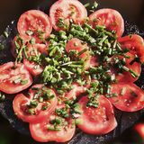 红色蕃茄和香葱 在葡萄酒生动的颜色的艺术性的神色 免版税库存图片