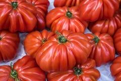 红色蕃茄在市场上 免版税库存图片