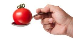 红色蕃茄在白色背景隔绝的匙子holded 免版税库存图片