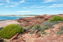 红色虚张声势海滩:砂岩和海 免版税库存图片