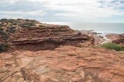 红色虚张声势海滩:Kalbarri,西澳州 免版税库存图片