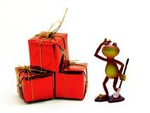 红色蛙的礼品 库存图片