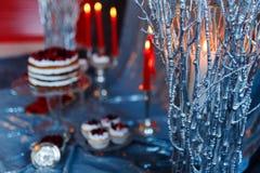 红色蜡烛在冬天分支的烧伤 免版税库存照片