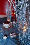红色蜡烛在冬天分支的烧伤 库存照片
