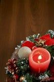 红色蜡烛Chtistmas装饰 图库摄影