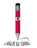 红色蜡笔文字:回到学校 免版税库存图片