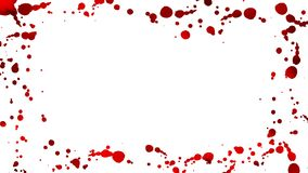 红色血液下落出现在形成框架的白色背景 4K行动图表 向量例证