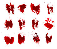 红色血淋淋的墨水难看的东西splats 库存图片