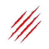 红色血淋淋的爪动物抓痕刮轨道 猫爪子印刷品 四个钉子踪影 滑稽的设计元素 平面 白色backgro 免版税库存图片