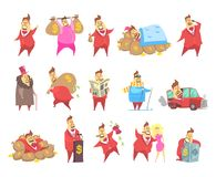 红色衣服的肥胖富有的百万富翁人,滑稽的资本家字符用不同的情况导航在白色的例证 皇族释放例证