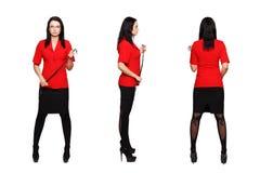 红色衣服3侧视图的性感的dominatrix妇女 免版税图库摄影