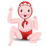 红色衣裳的婴孩坐地板 库存照片