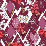 红色补缀品无缝的花卉抽象的样式,白色背景 皇族释放例证