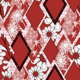 红色补缀品无缝的花卉的样式,白色背景 免版税库存照片